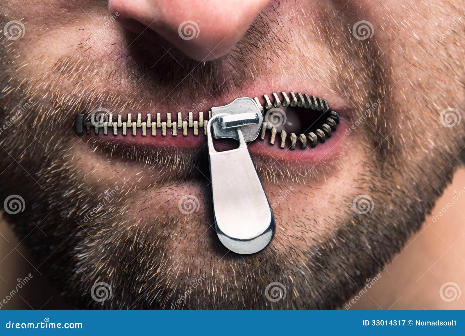 Blixtlåsförsedd mun