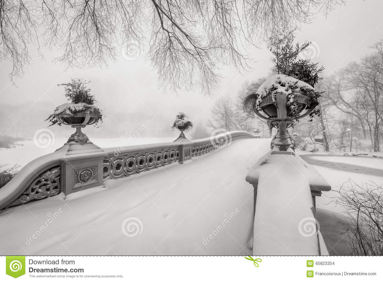 Stocks Download Shivam Creation: Blizzard In Central Park. Bow Bridge Covered In Snow, NYC