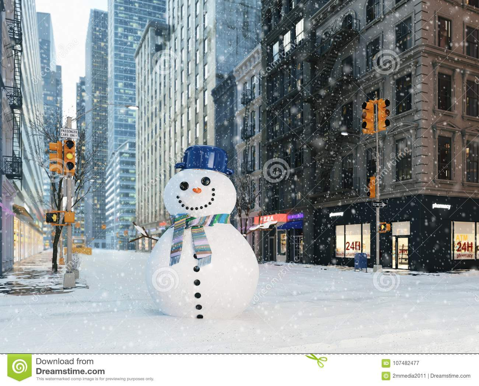 Blizzard em New York City boneco de neve da construção rendição 3d