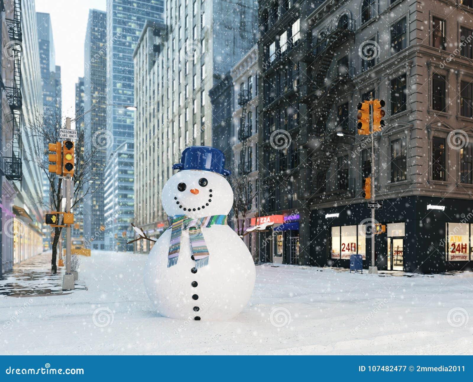 Blizzard in new york city. build snowman. 3d rendering