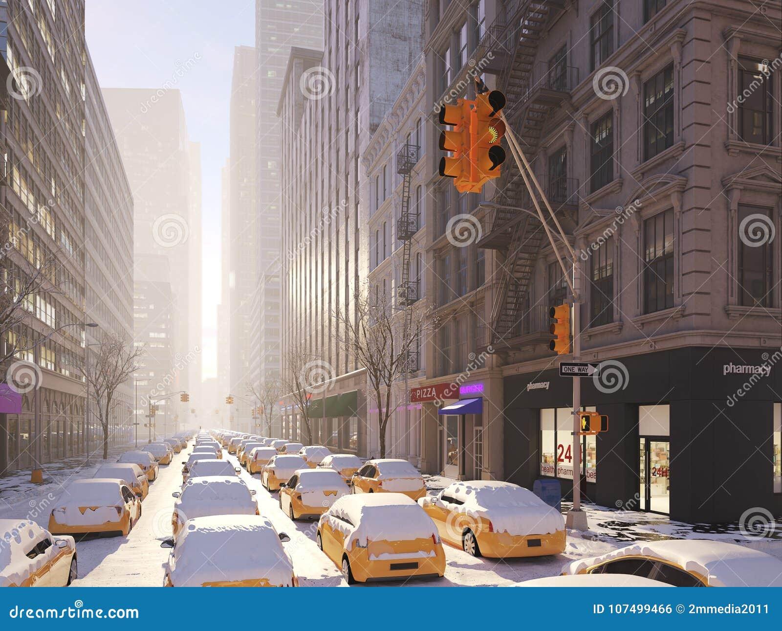 Blizzard In New York City  3d Rendering Stock Illustration