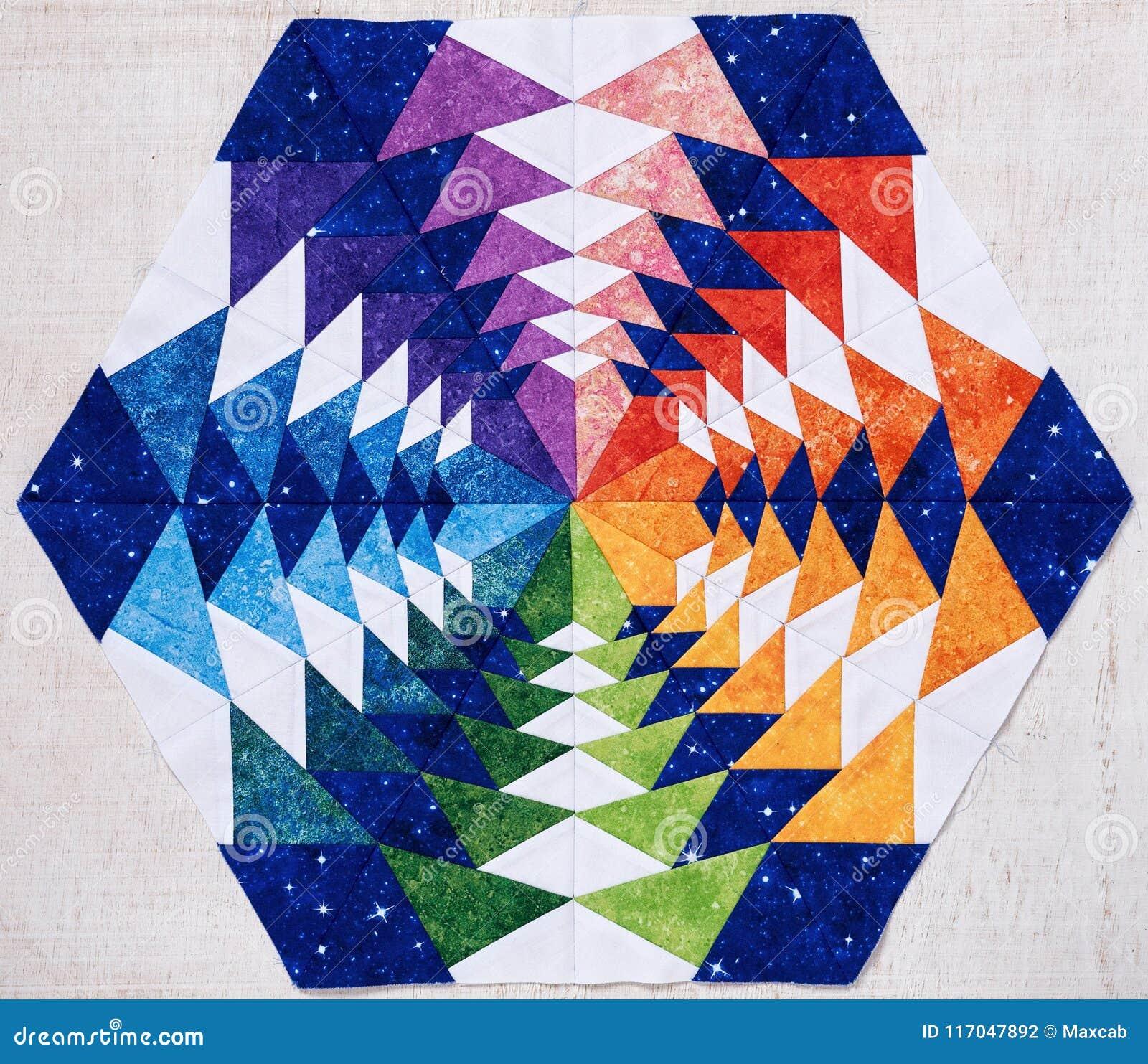 Bloc de patchwork d hexagone comme le kaléidoscope, détail d édredon