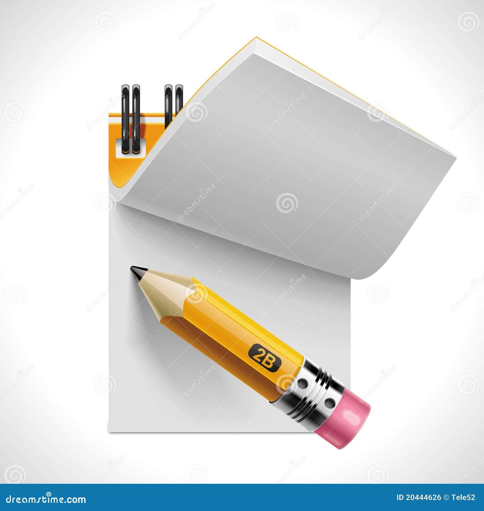 Bloc-notes ouvert de vecteur avec le graphisme du crayon XXL