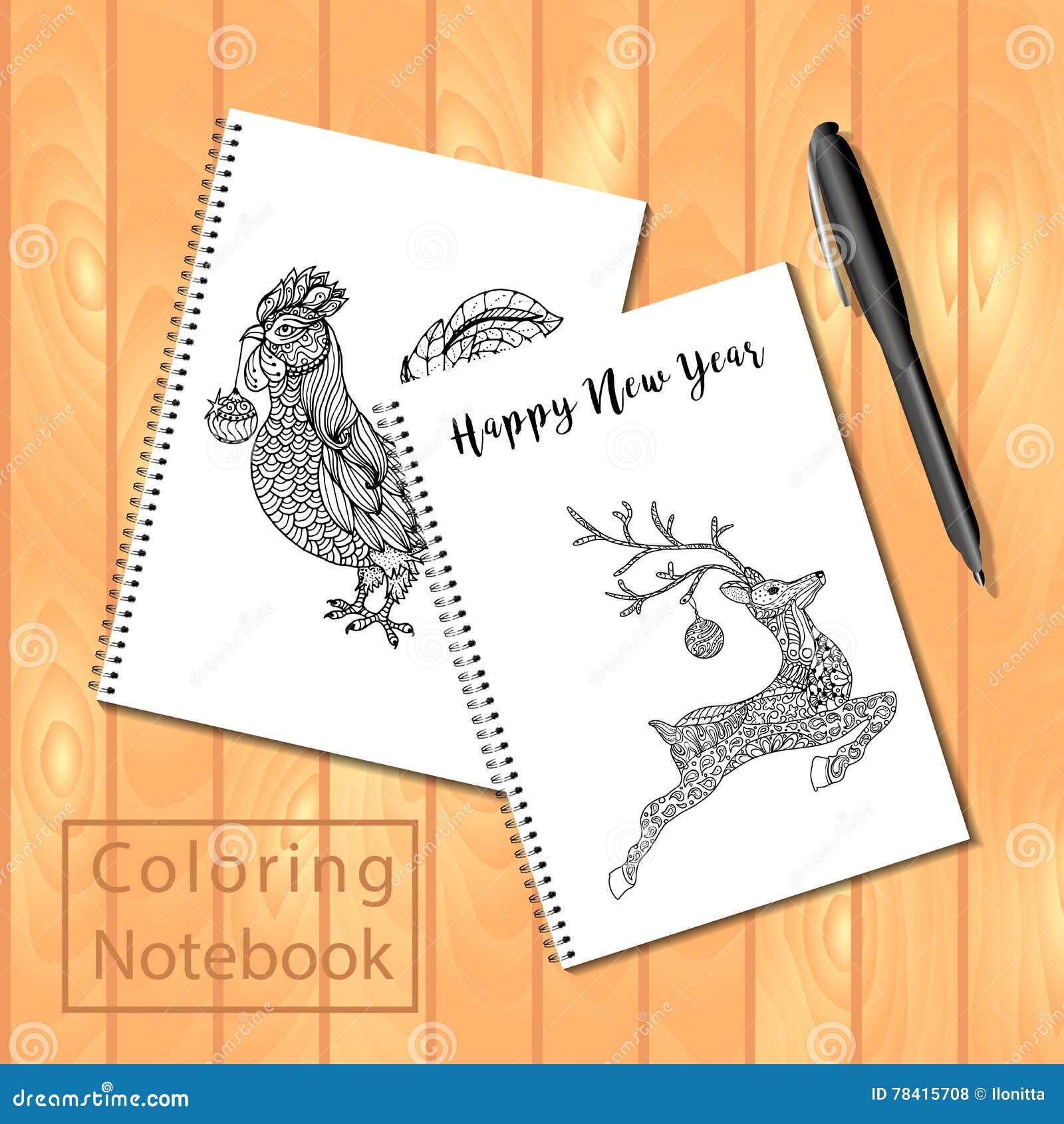 Blocchi Note O Libro Da Colorare Diretti A Spirale Con La Penna E Le