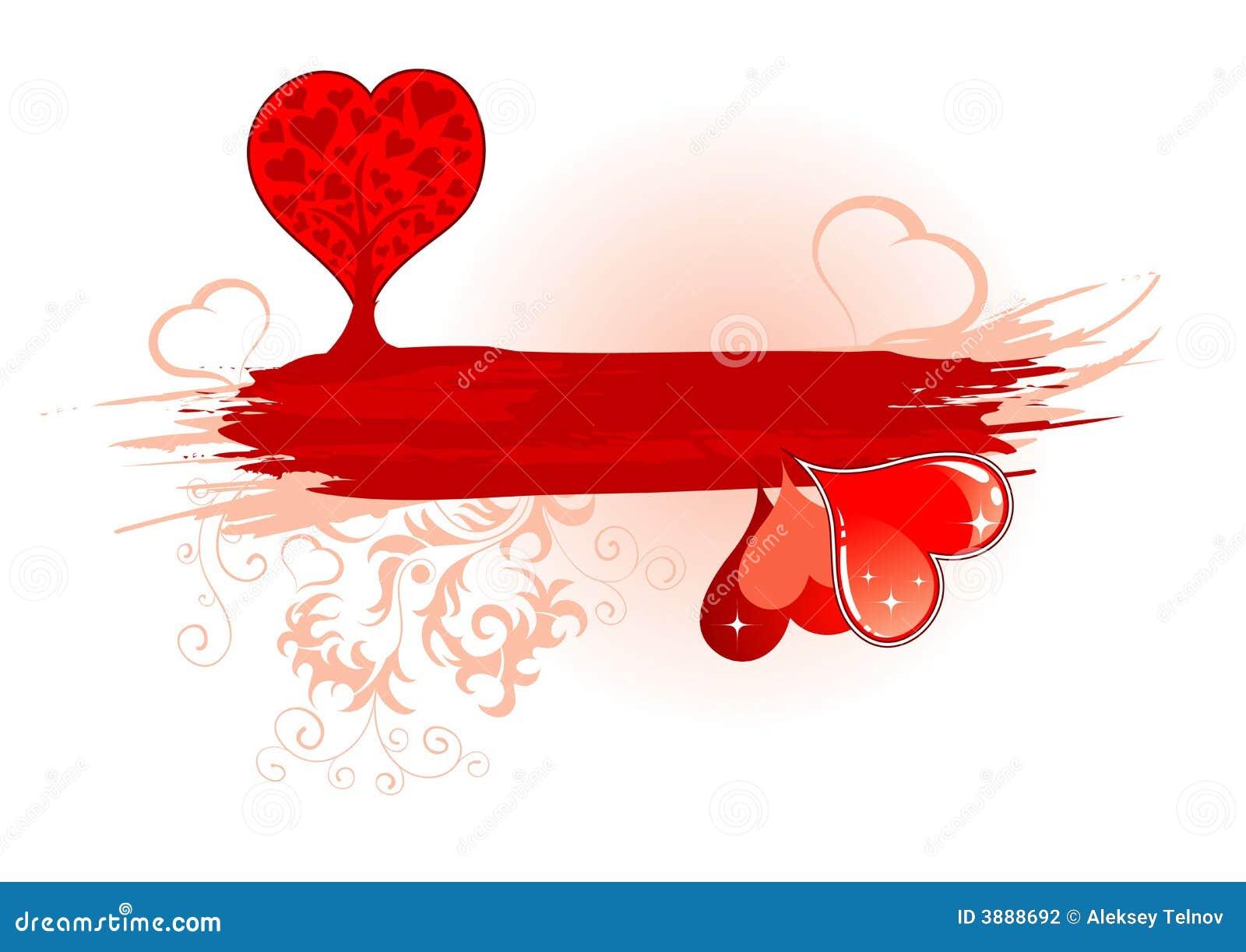 Blocco per grafici di giorno dei biglietti di S. Valentino con l albero ed i cuori