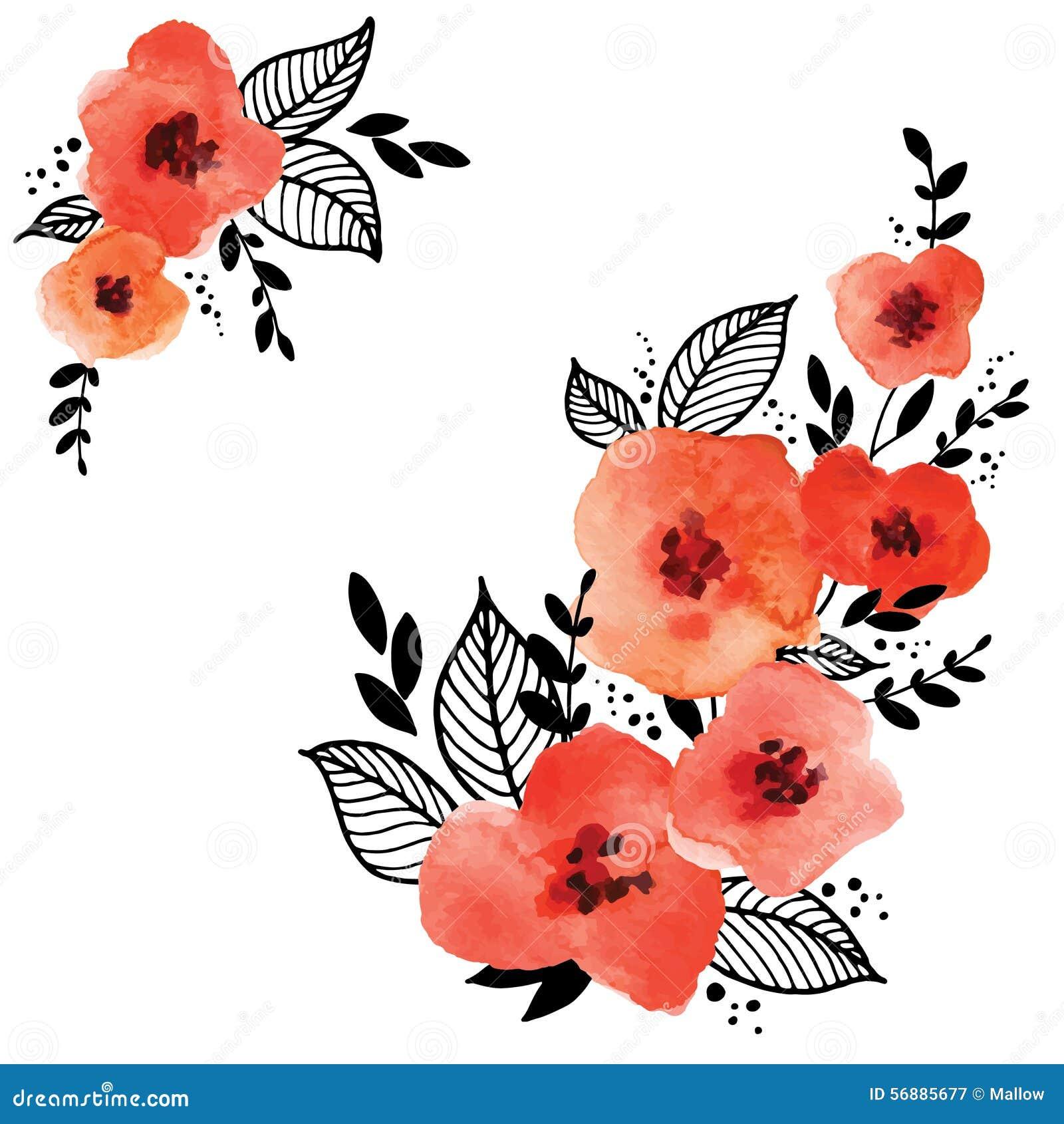 Blocco per grafici floreale rosso di vettore