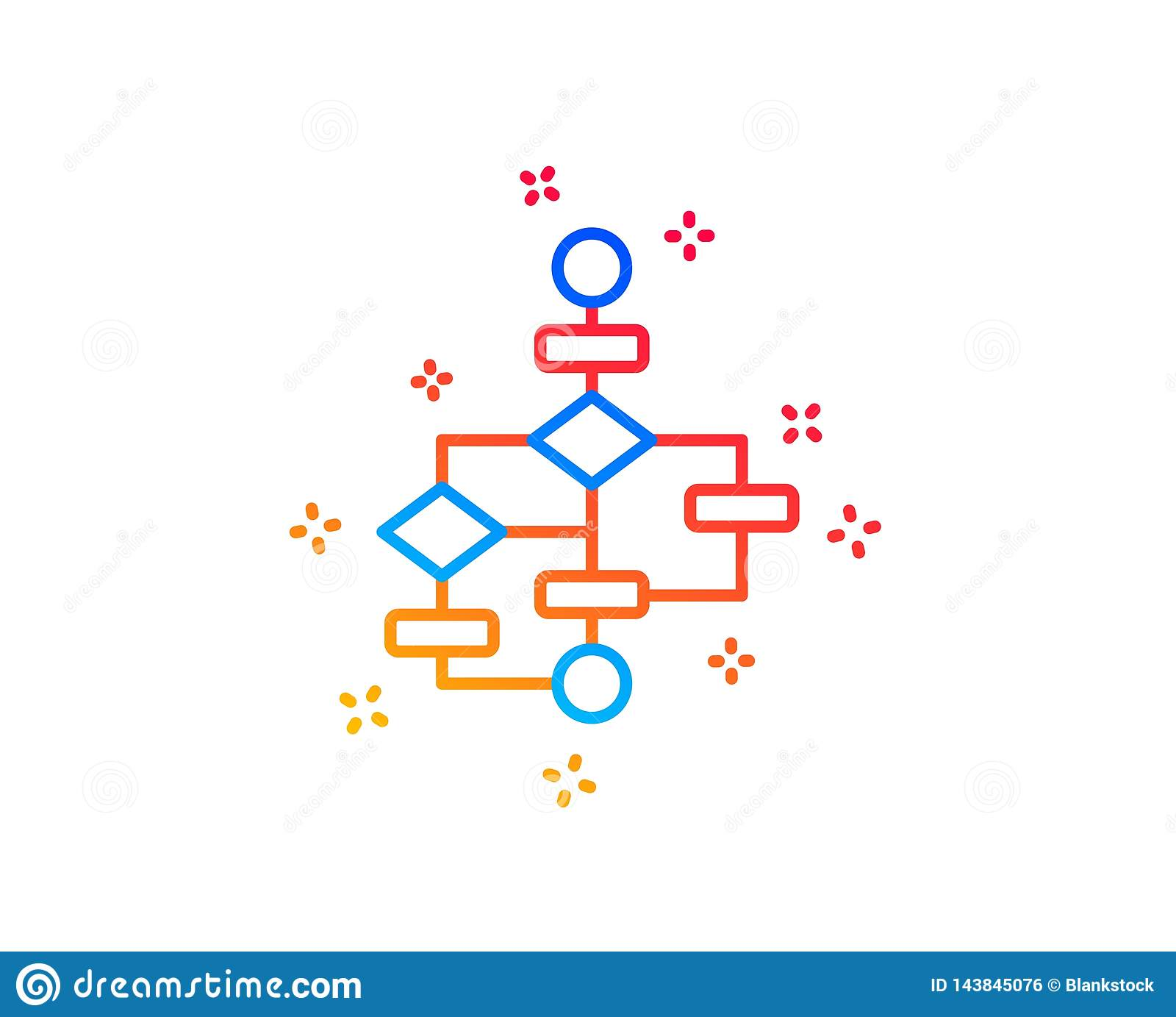block diagram line icon  path scheme sign  algorithm symbol  gradient  design elements  linear block diagram icon  random shapes  vector