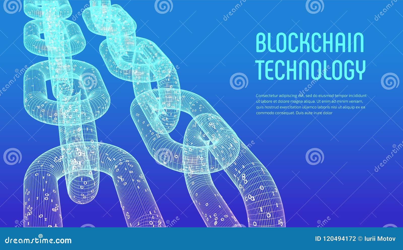 Block-Kette Schlüsselwährung Blockchain-Konzept wireframe 3D Kette mit digitalem Code Editable Cryptocurrency-Schablone Vorrat VE