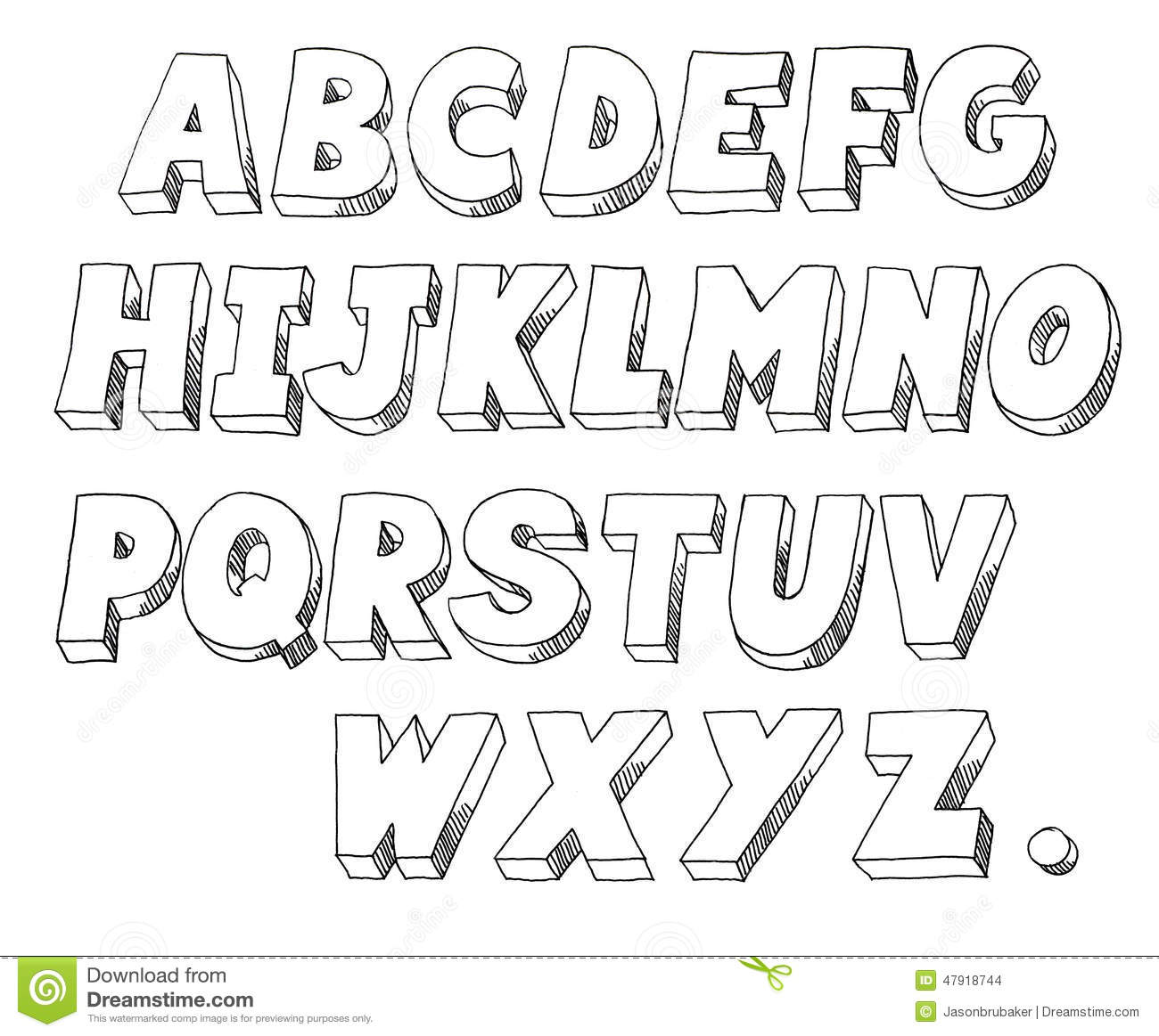 Line Art Font : Block letters stock illustration of hand