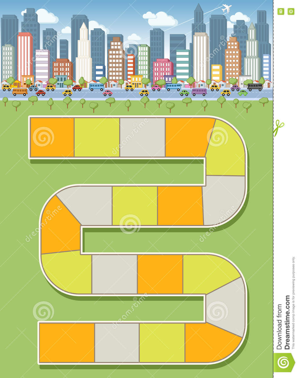 Block Path In The City Stock Vector Image Of Downtown