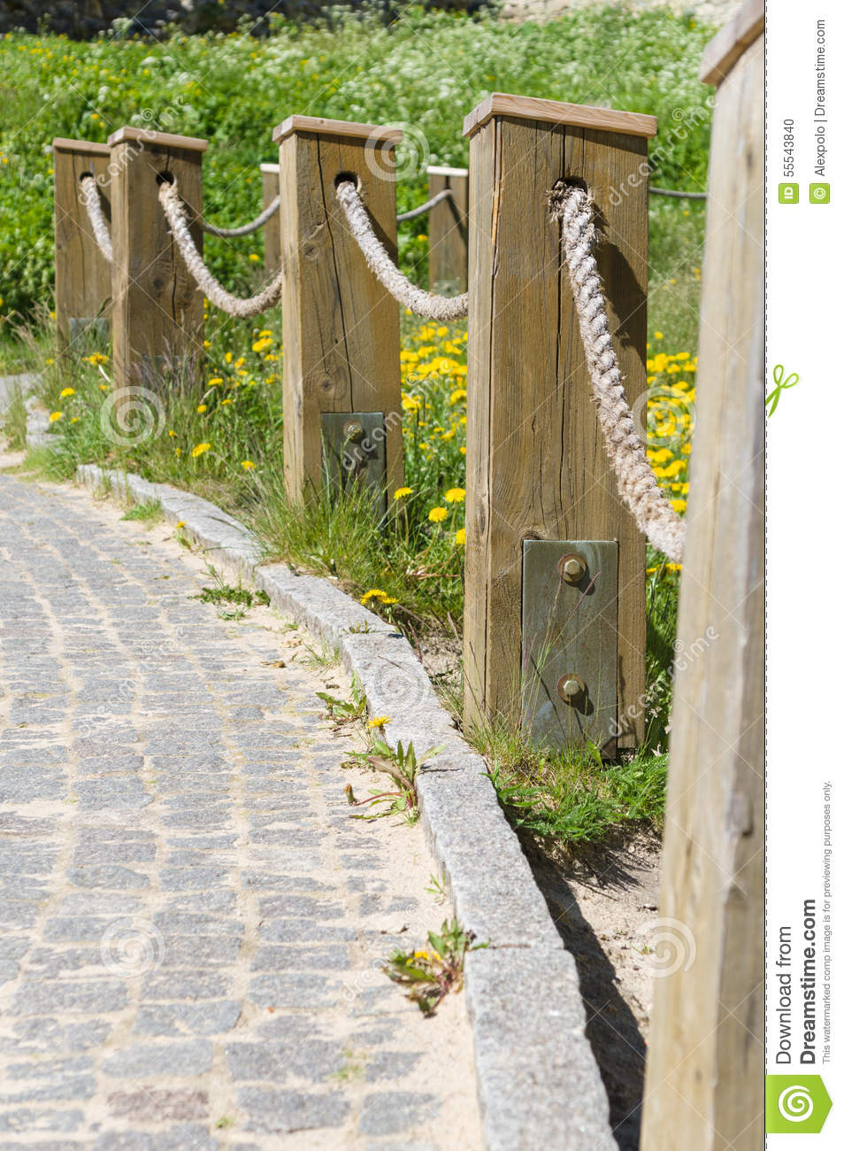 Block Pavement Footpath And Fence Rope Barrier Stock Photo - Image ...