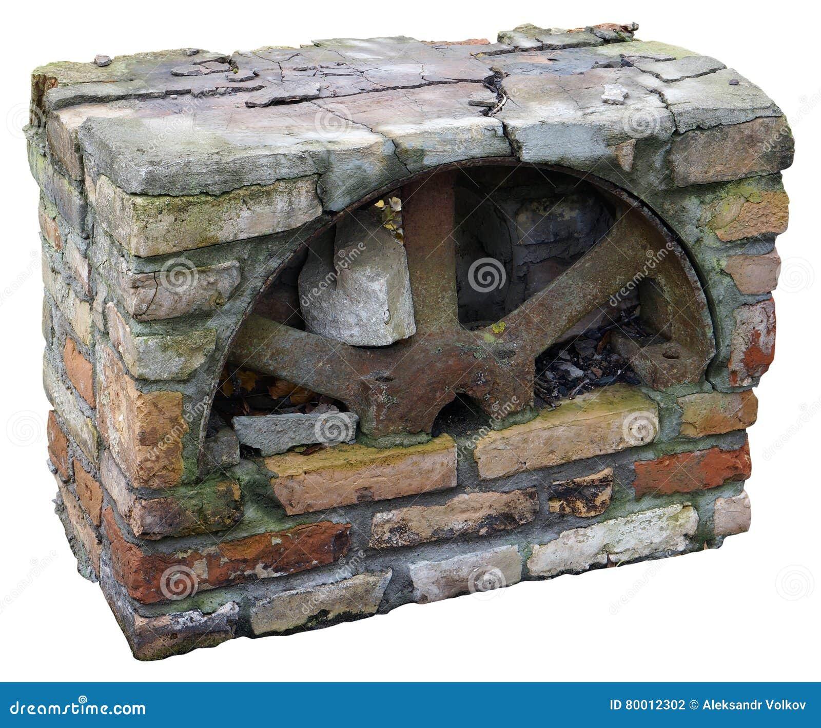 block of retro fireplace isolated stock photo image 80012302