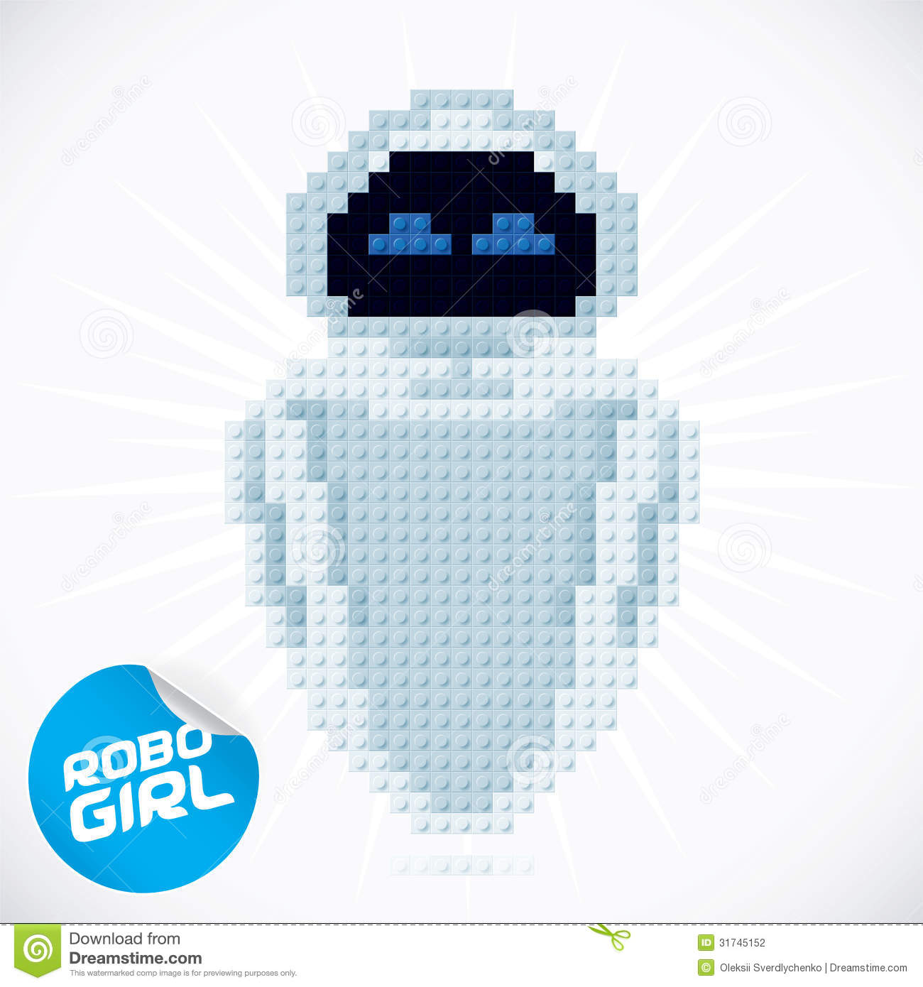 Robot Wall Sticker Block Robogirl Illustration Stock Photography Image