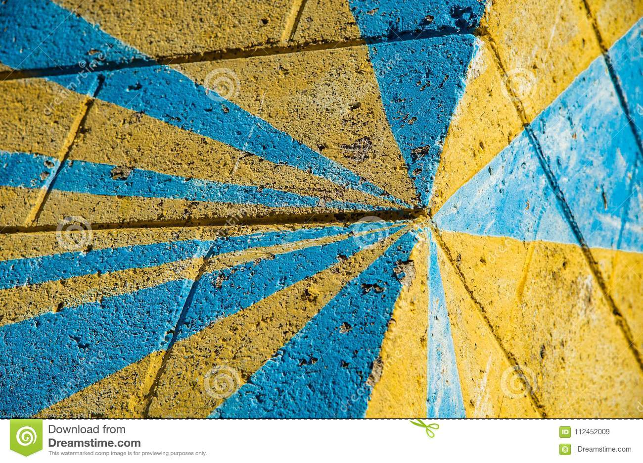 Block Wall With Decorative Paint. Stock Image - Image of corner ...