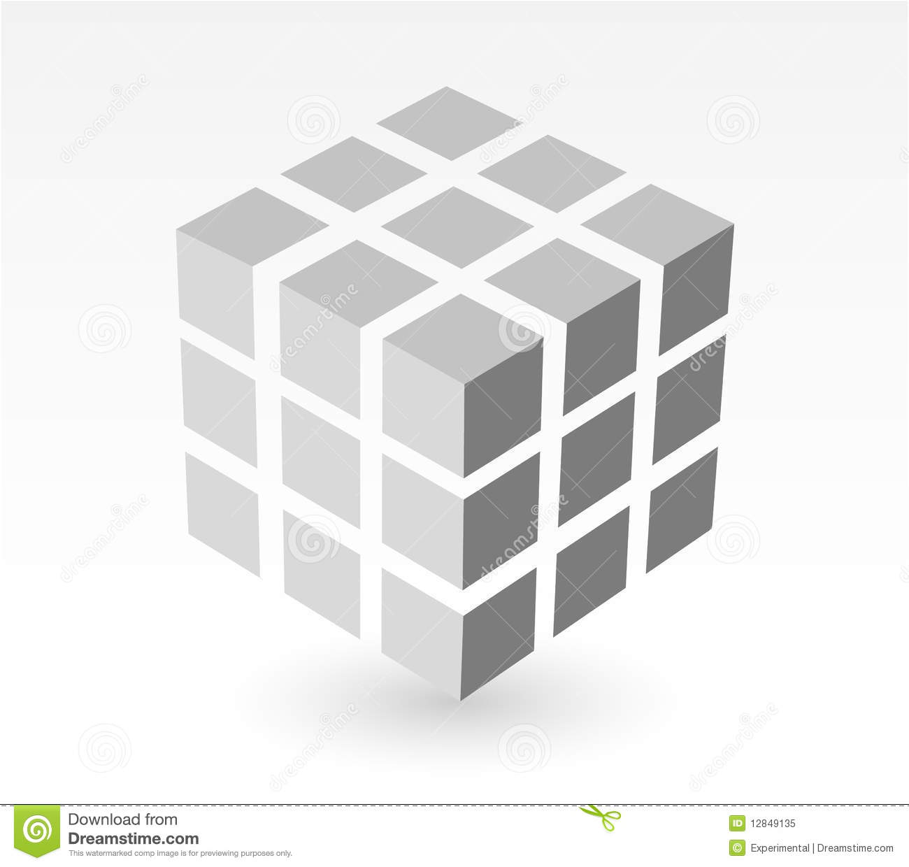 Block Of White Cube With Drop Shadow Royalty Free Stock