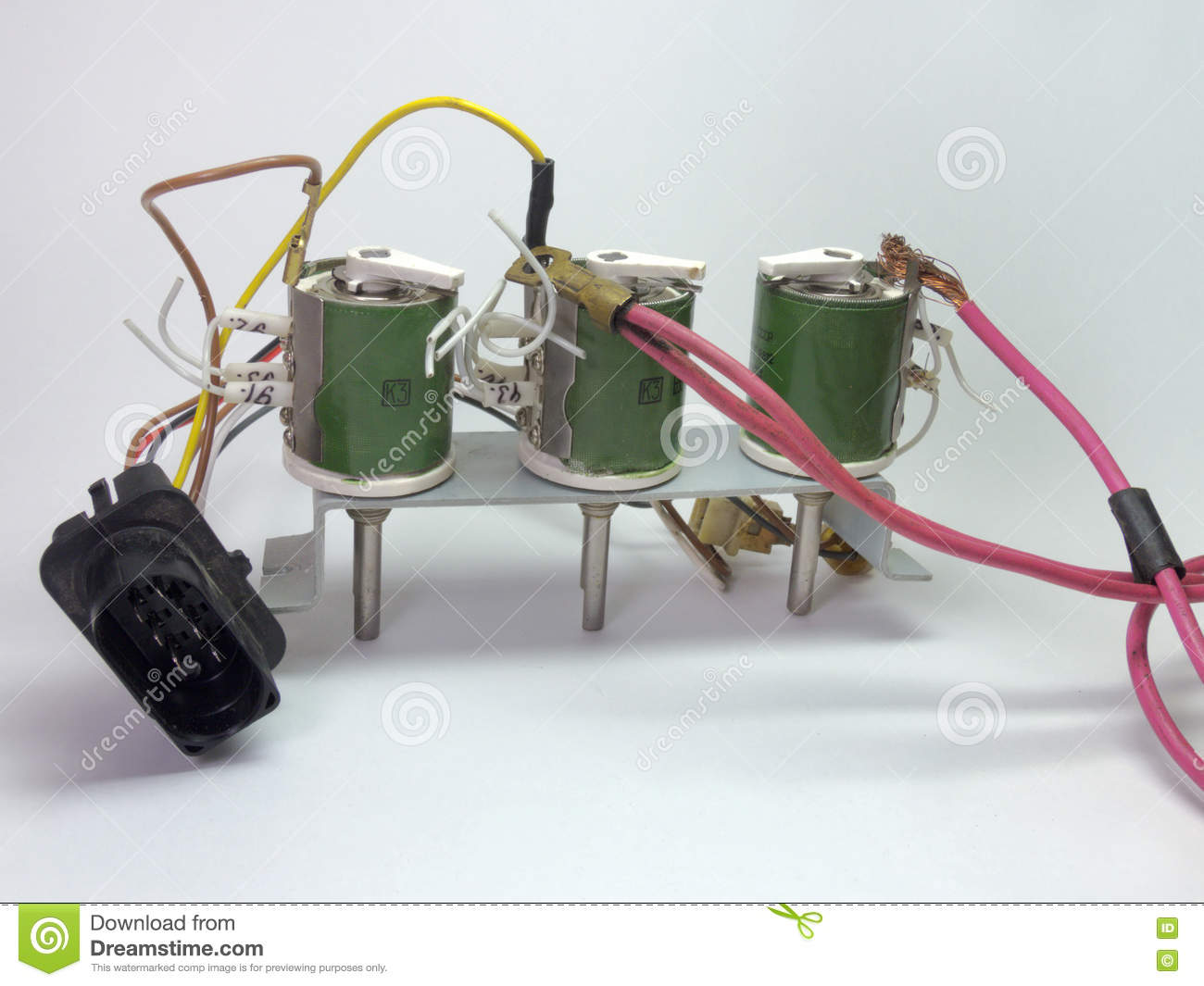 Block Of The Wirewound Variable Resistors And Plugs Stock Photo Wiring Resistor