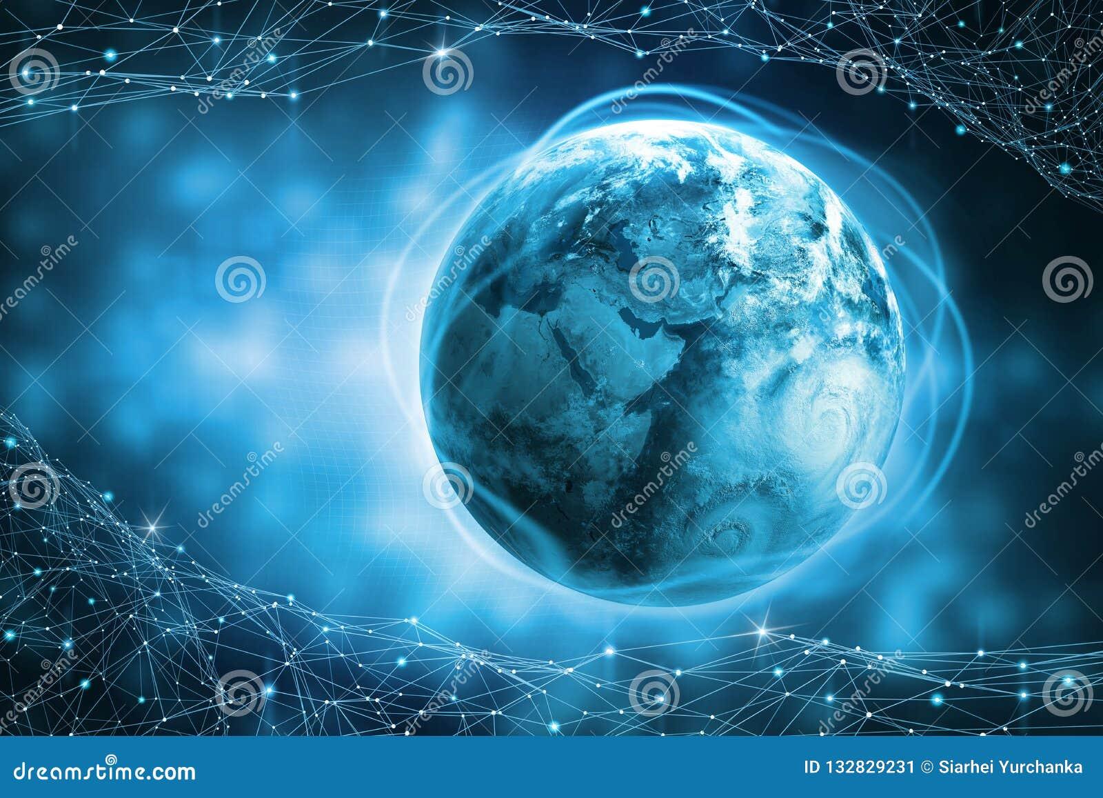 Blockchain技术 行星地球的全球性信息领域 保护和处理数字资料