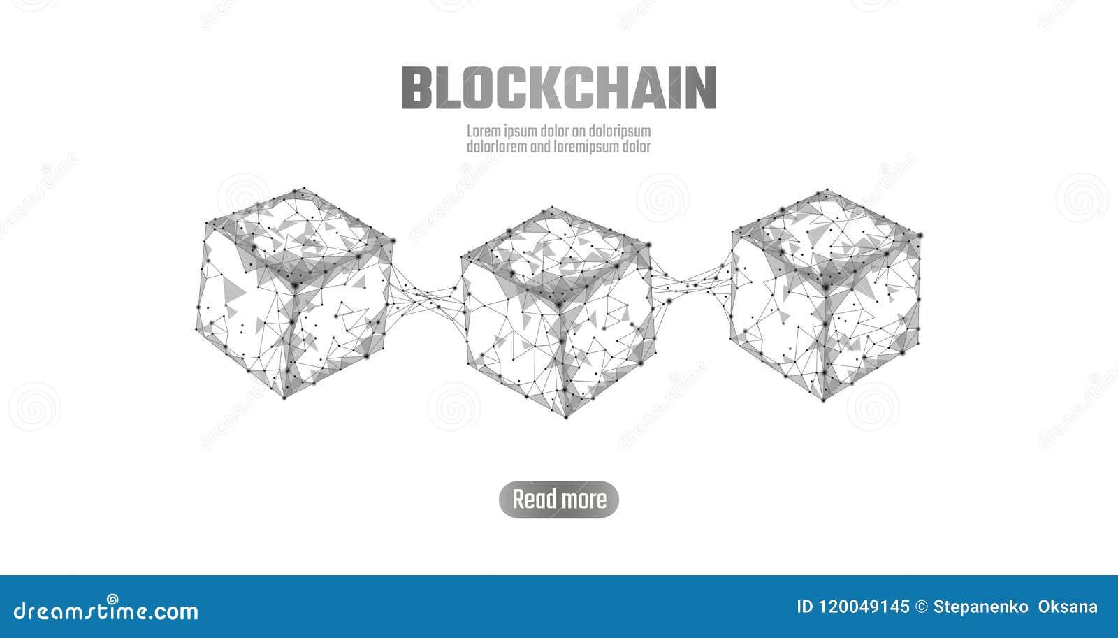 Blockchain立方体在方形的代码大数据流信息的链子标志 灰色白色中立介绍样式