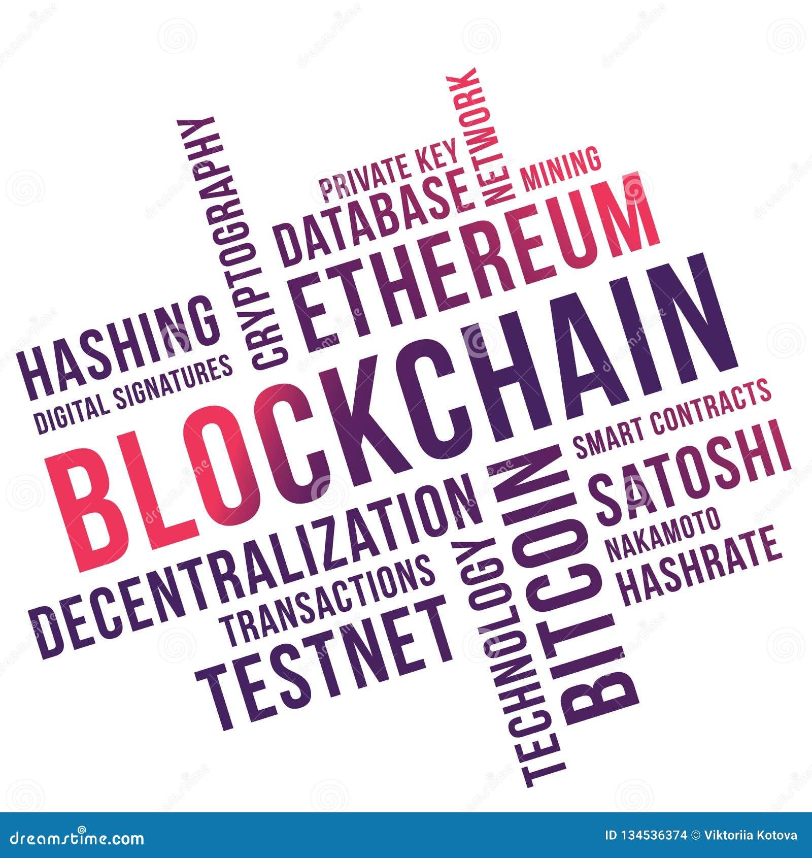 Blockchain词云彩拼贴画,企业概念backgroundn