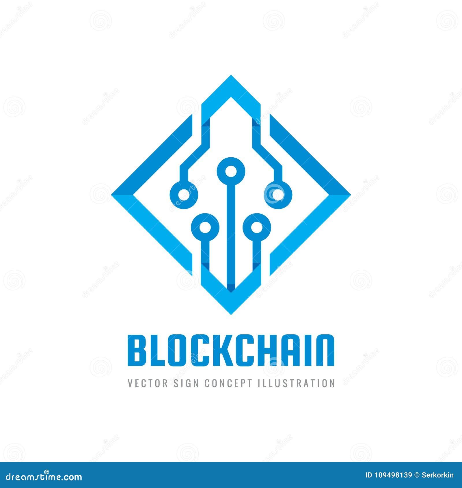 Blockchain -概念企业商标模板传染媒介例证 未来技术创造性的标志 数字式cryptocurrency象