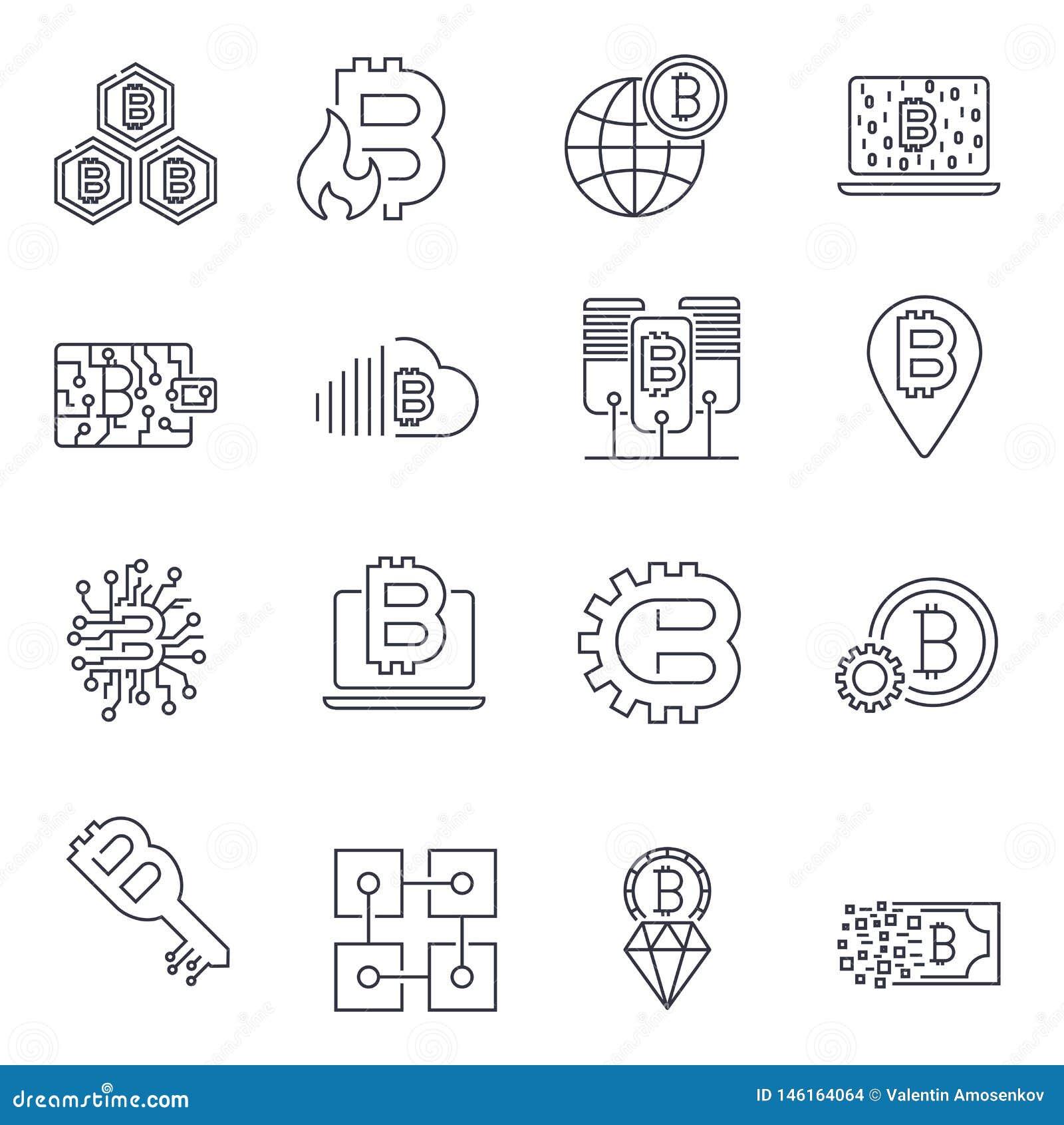 Blockchain, Bitcoin, εικονίδια Cryptocurrency καθορισμένα Bitcoin και blockchain τεχνολογία o
