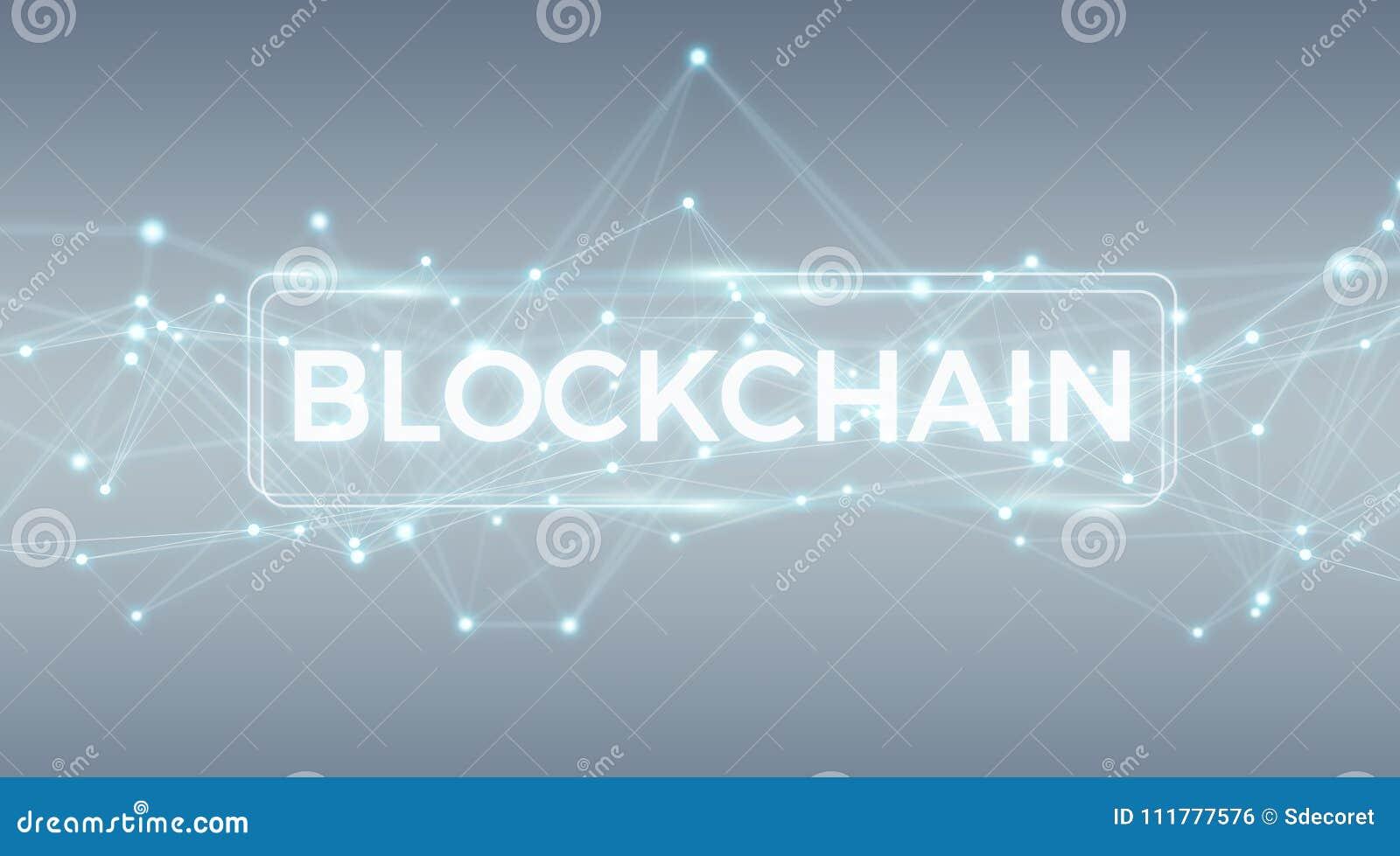 Blockchain connection background 3D rendering