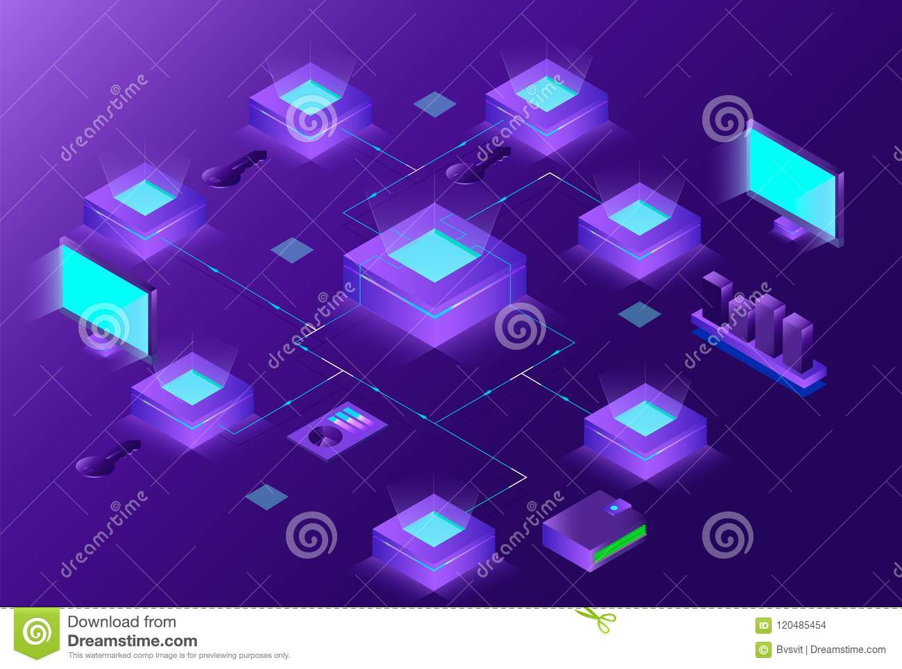 Blockchain and Cryptocurrency isometric composition with people. e-commerce, bitcoin trading, analysts and managers working on cry