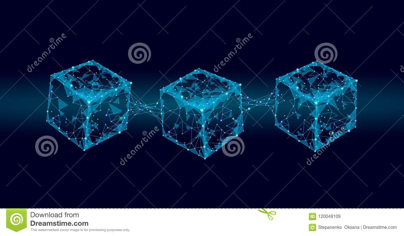 Blockchain cube chain symbol on square code big data flow information. Blue neon glowing modern trend. Cryptocurrency