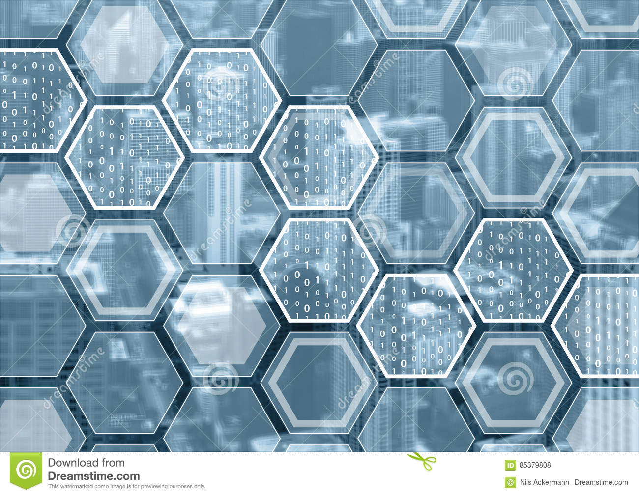 Download Blockchain Or Digitization Blue And Grey Background With Hexagonal Shaped Pattern Stock Photo - Image of city, block: 85379808