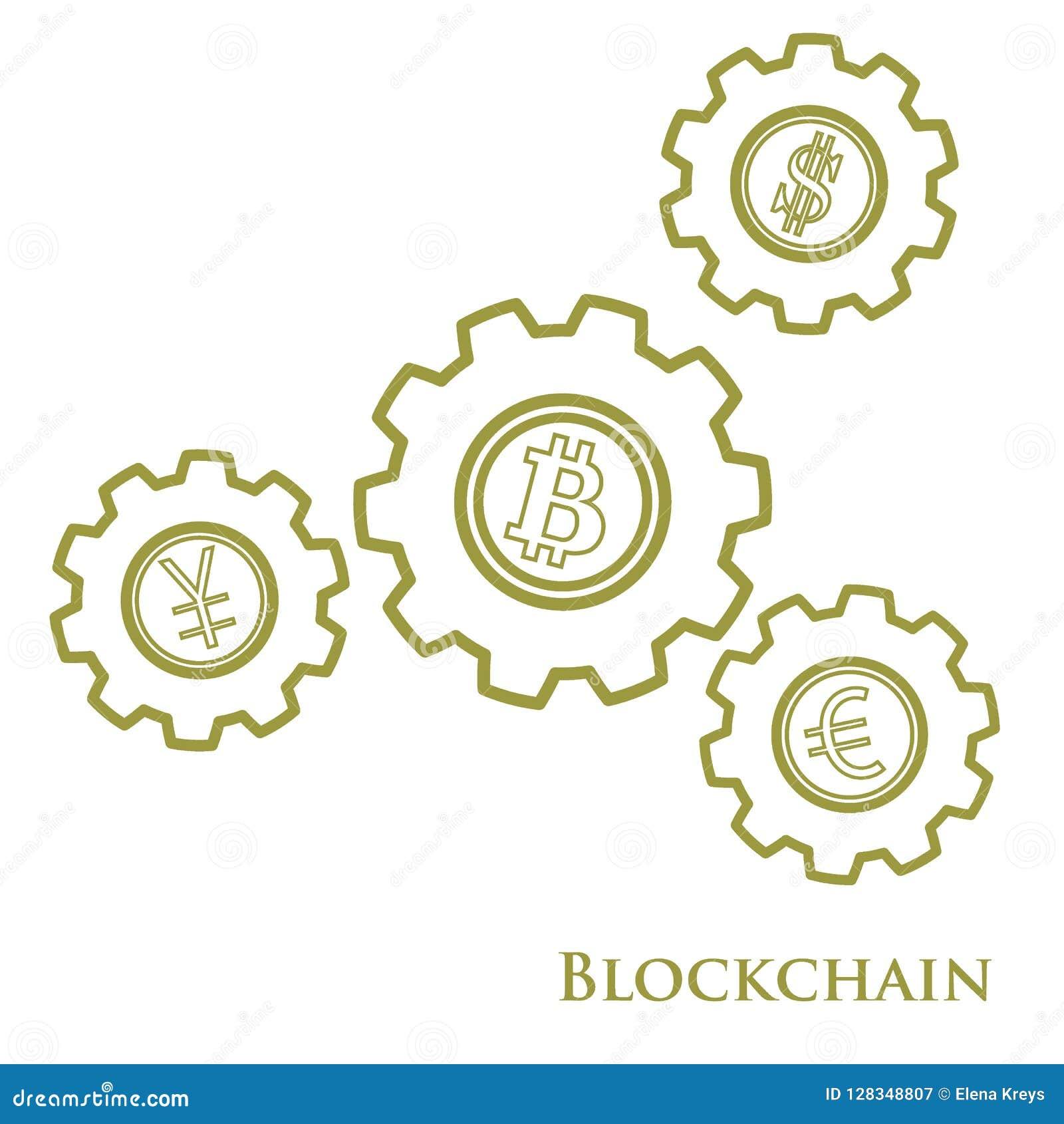 Blockchain Ejemplo de la transferencia monetaria digital del web Ingenio del engranaje