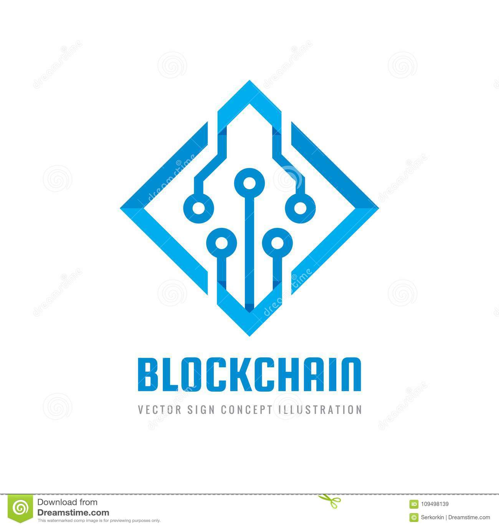 Blockchain - ejemplo del vector de la plantilla del logotipo del negocio del concepto Muestra creativa de la tecnología futura Ic
