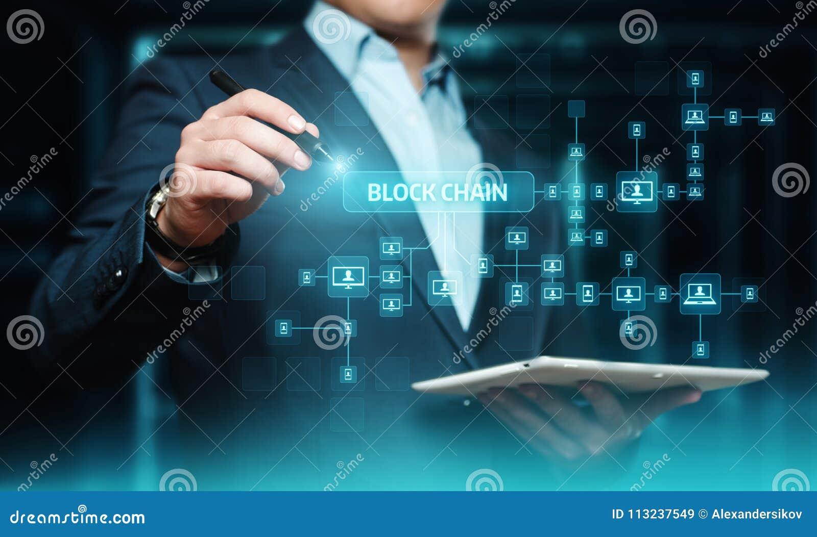 Blockchain encryption Blocks Security Finance Fintech Network Internet Technology Concept