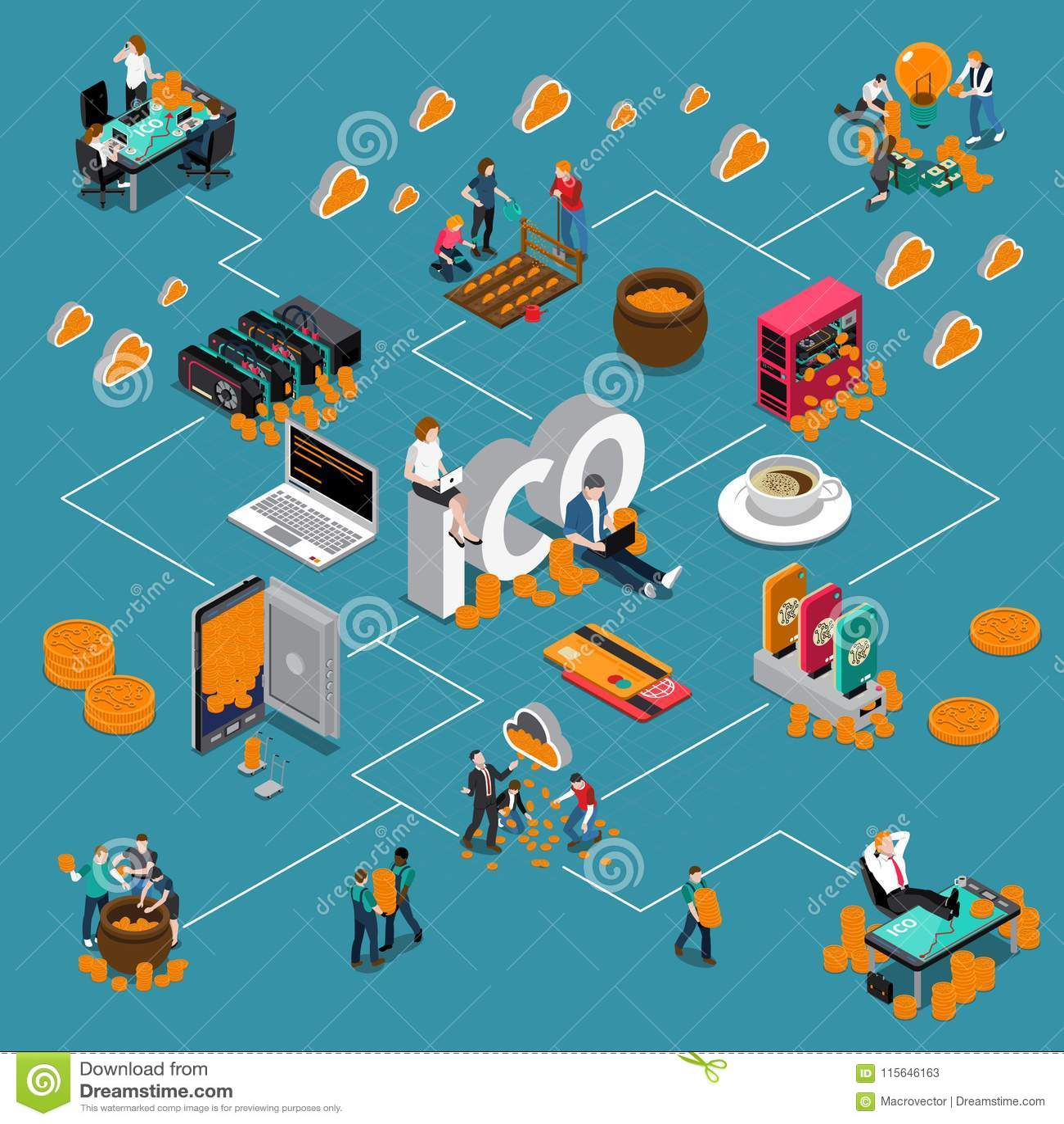 Blockchain ICO Isometric Flowchart