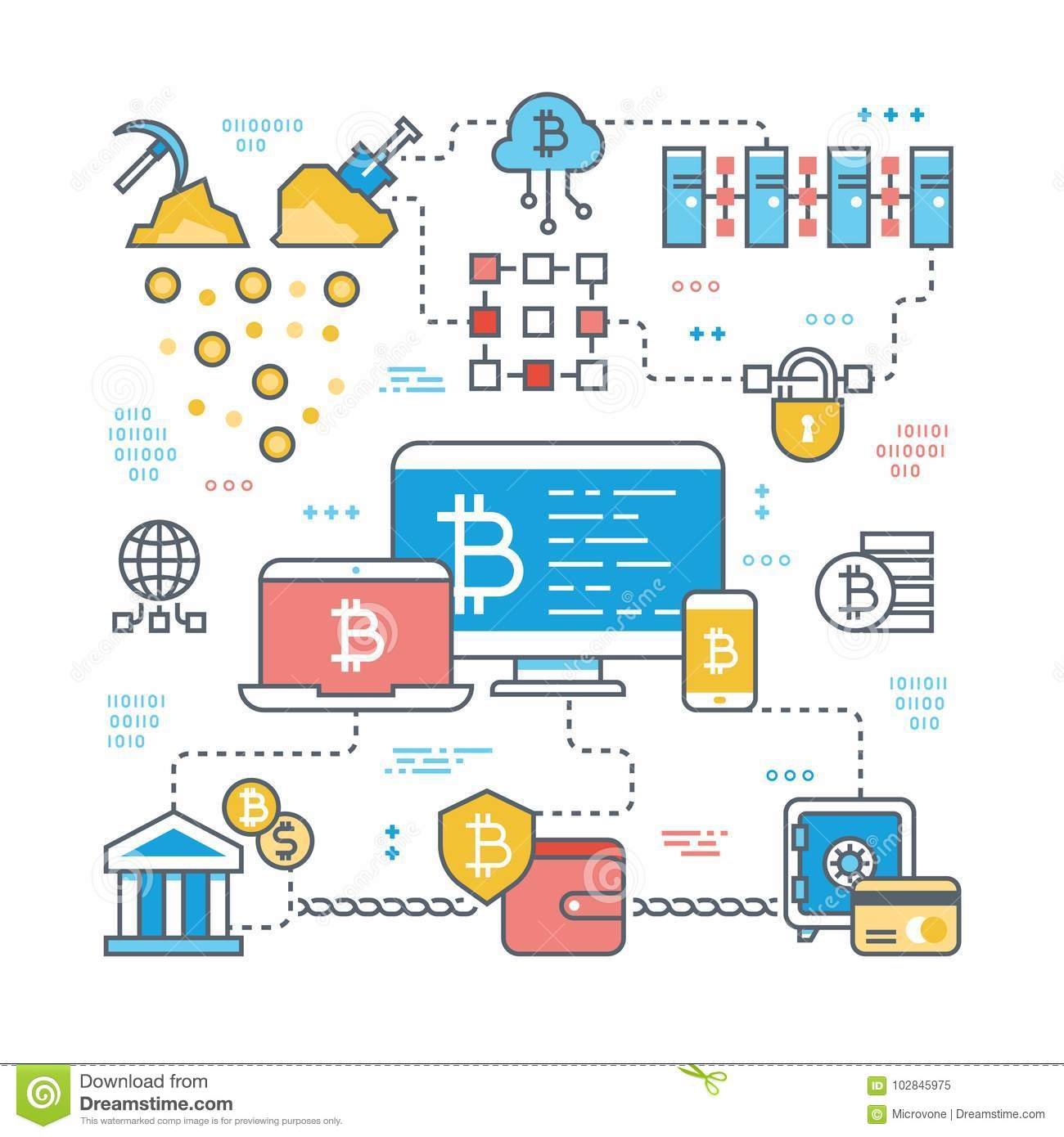Blockchain And Internet Cryptocurrency Transaction Bitcoin Stock Market Finance Support Vector Concept