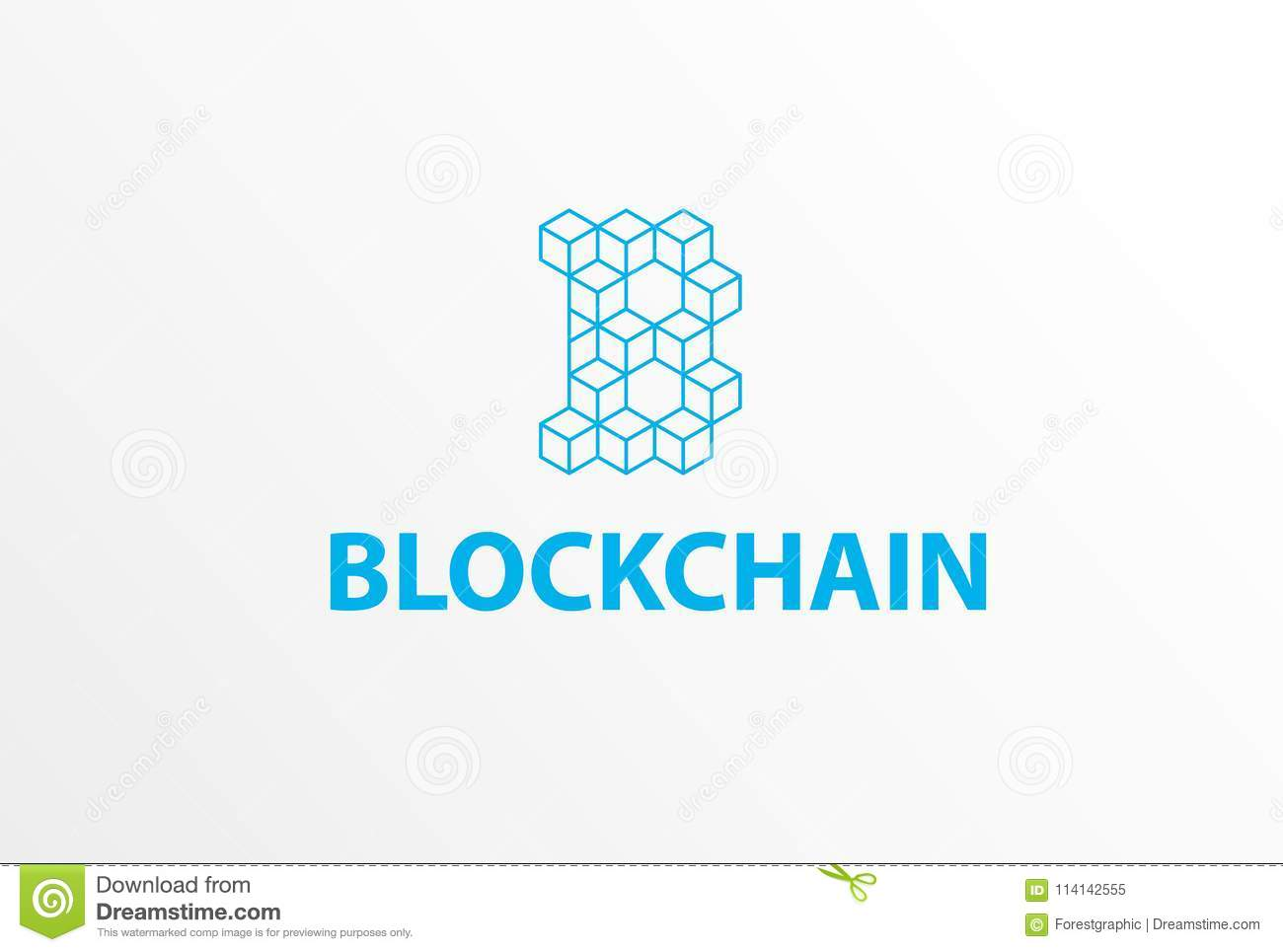 Blockchain Logo Or Icon - 3d Isometric Cube Letter B Blue