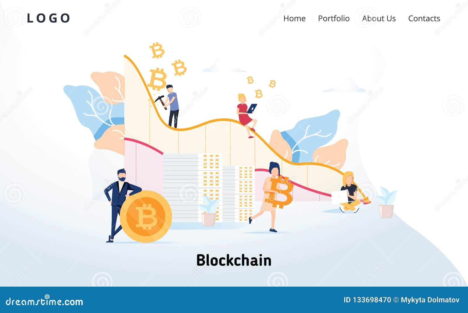 Blockchain modernt plant designbegrepp Cryptocurrency och folkbegrepp Landa sidamallen Begreppsmässig crypto rengöringsduk