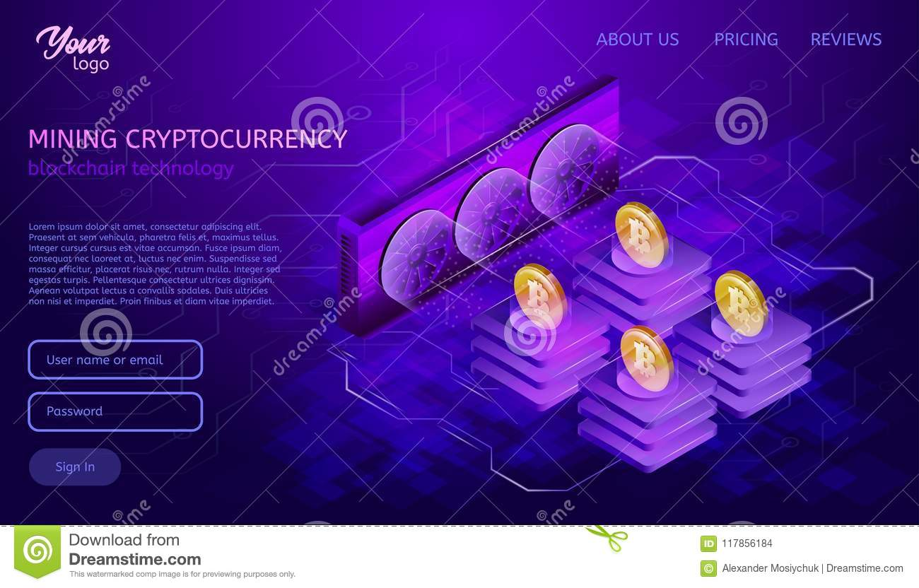 Download Blockchain System Or Technology Mining Process Bitcoin Cryptocurrency Server Farm Stock Vector