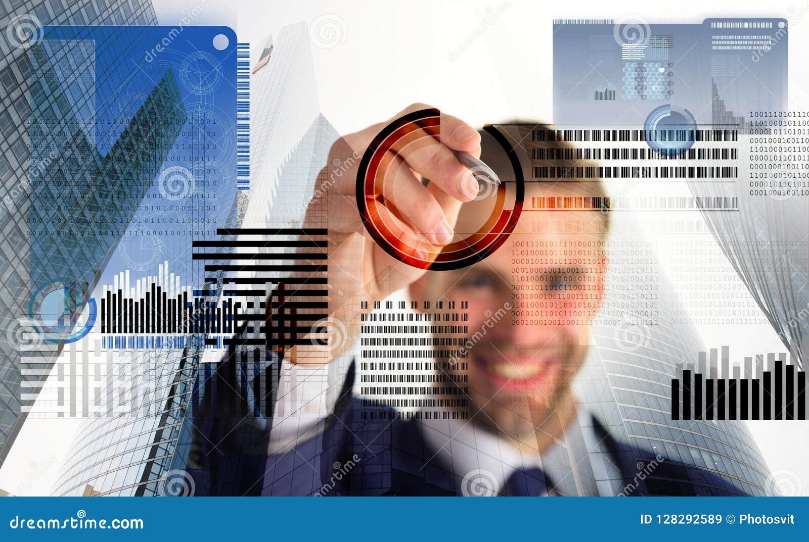 Blockchain-Technologie Zukünftiges digitales Geld Investitionsschlüsselwährung Anzeigen-kommerzielle Grafiken des Mannes wechselw