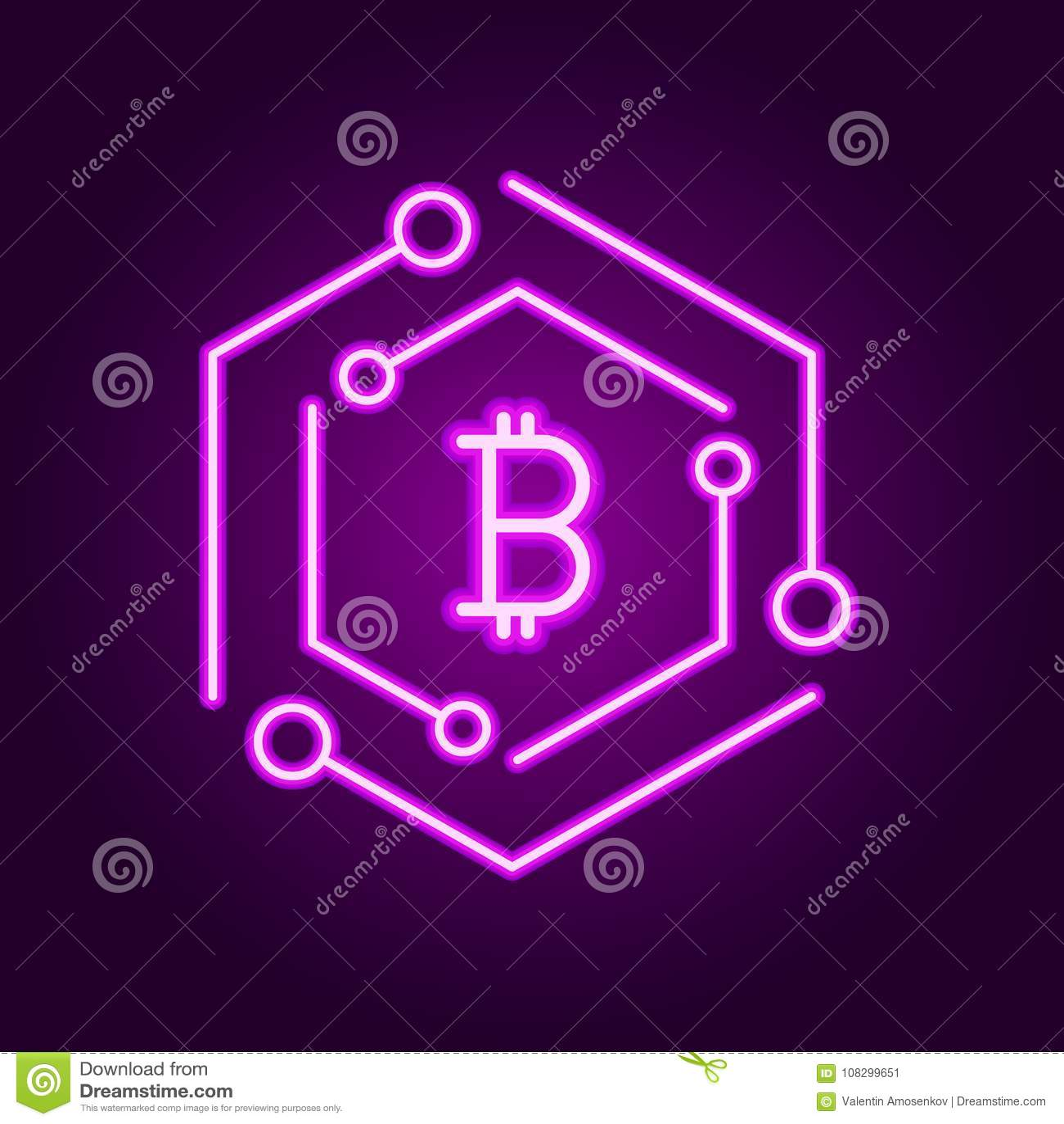 Blockchain technology modern icon vector block chain symbol or vector block chain symbol or logo element in neon line style buycottarizona Choice Image