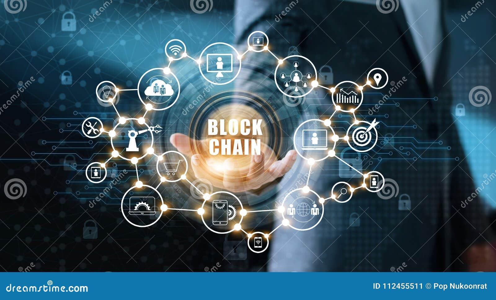 Technology Management Image: Blockchain Technology And Network Concept. Businessman
