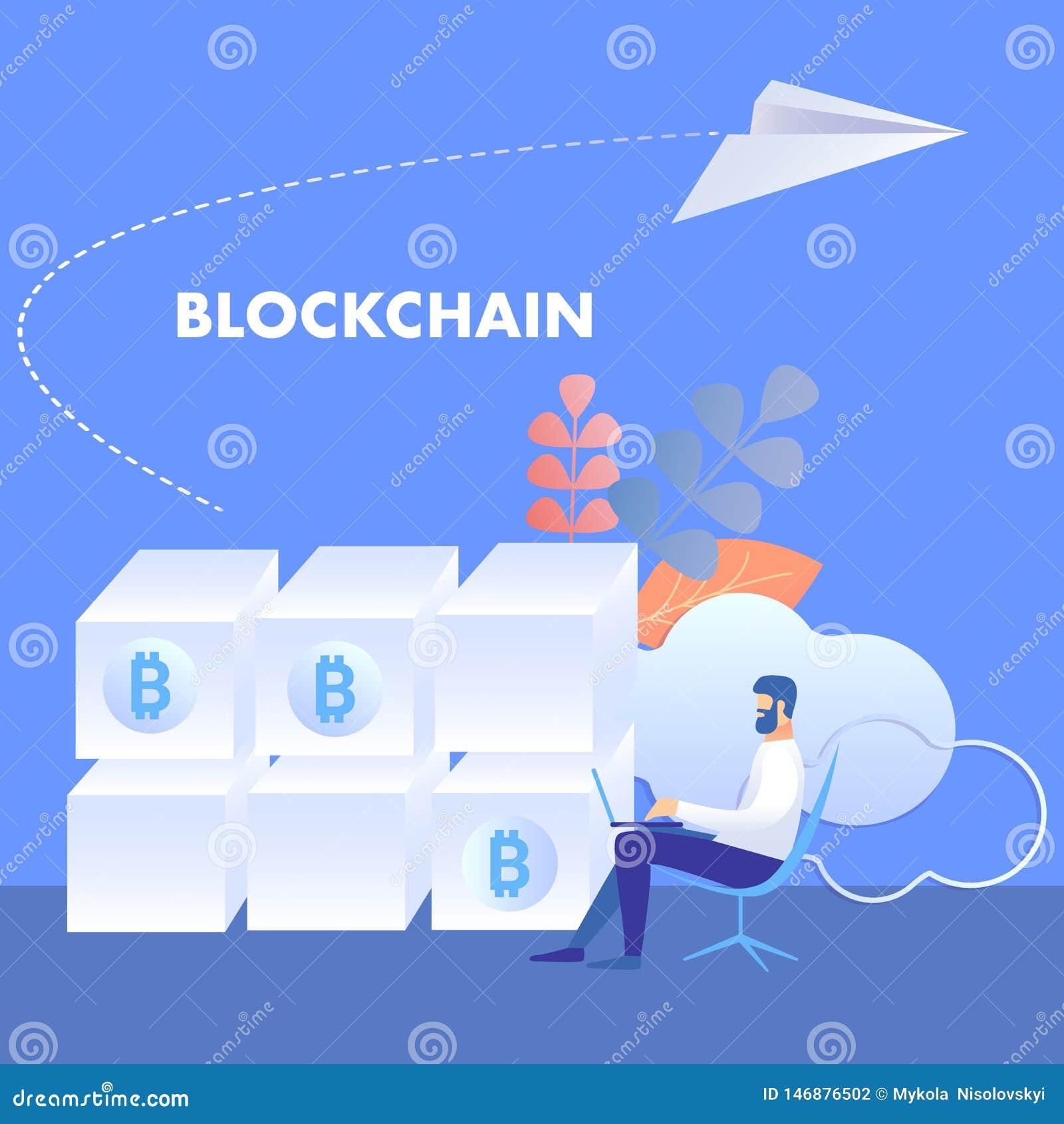 Blockchaintechnologie, Mijnlandbouwbedrijfillustratie