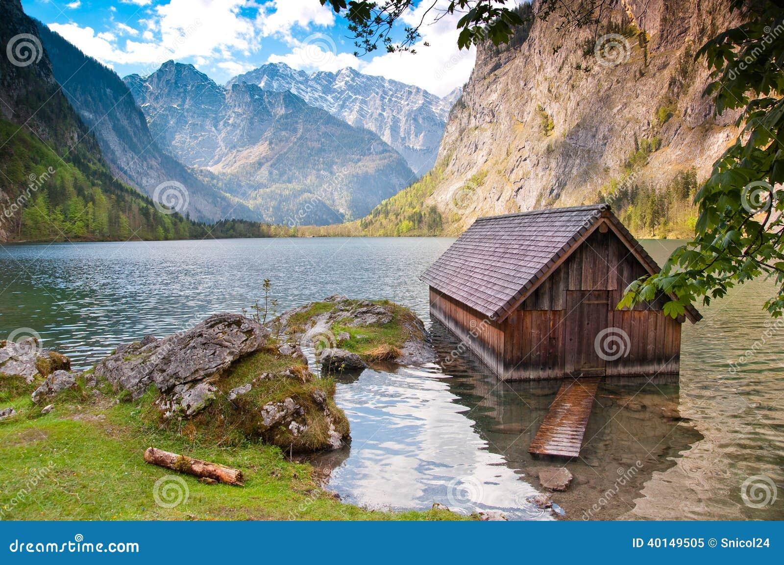 blockhaus auf see obersee see deutschland stockfoto bild 40149505. Black Bedroom Furniture Sets. Home Design Ideas