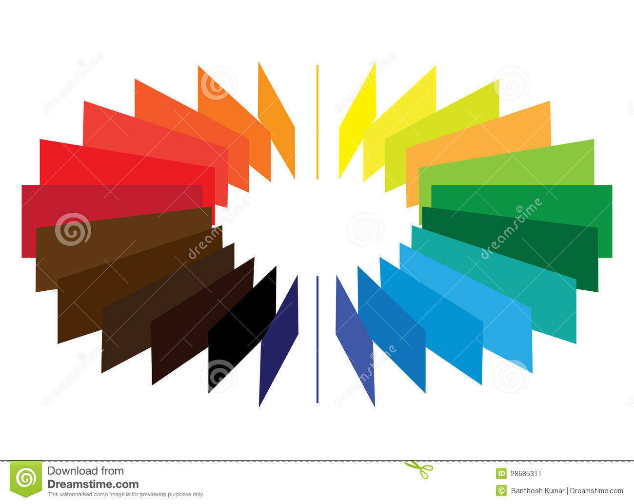 Blocks Forming A Color Colour Wheel Fan Stock Vector Illustration