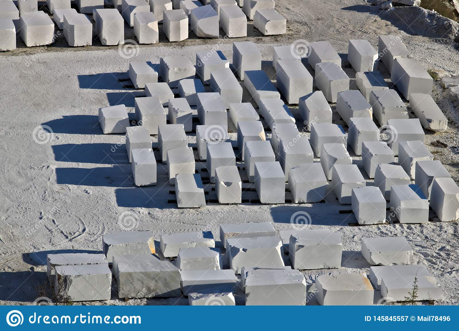 Apuan Alps Carrara Tuscany Italy March 28 2019 White Carrara Marble Blocks In A Warehouse Stock Image Image Of Site Quarry 145845557