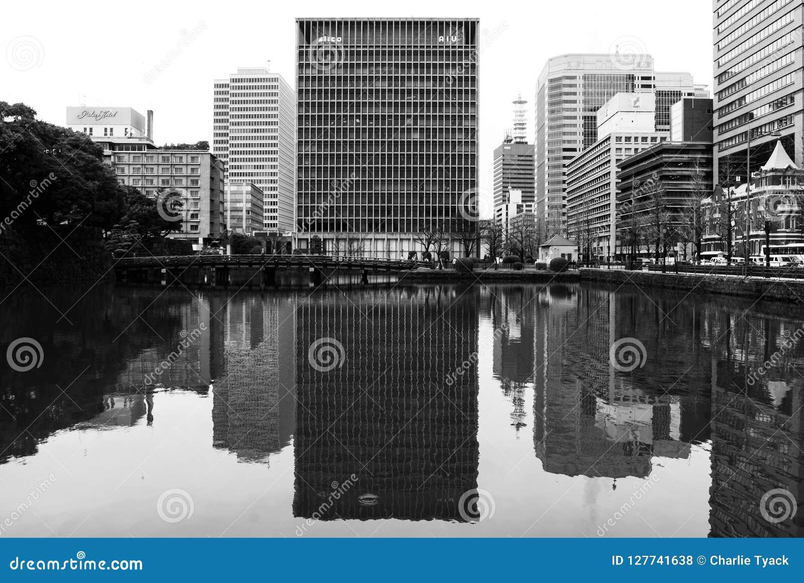 Bloco de escritório do arranha-céus do Tóquio - preto e branco