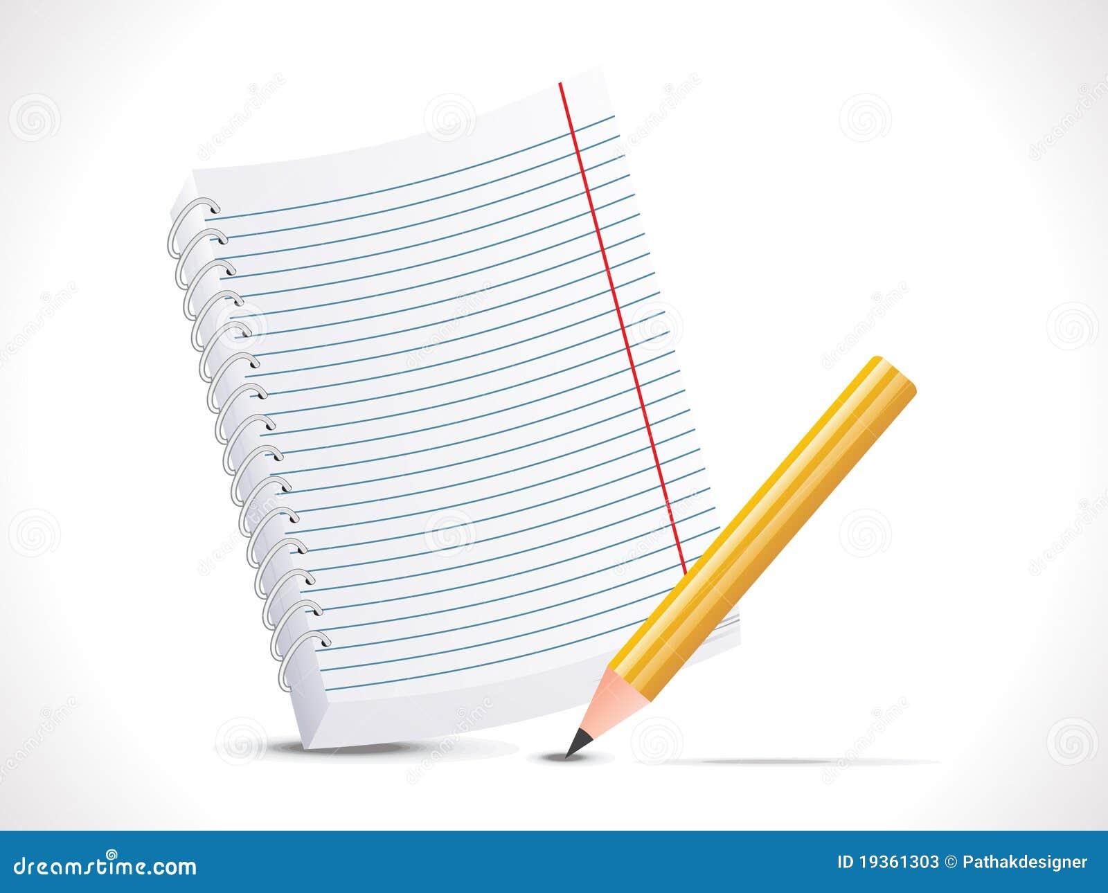 Bloco de notas abstrato com ícone do lápis