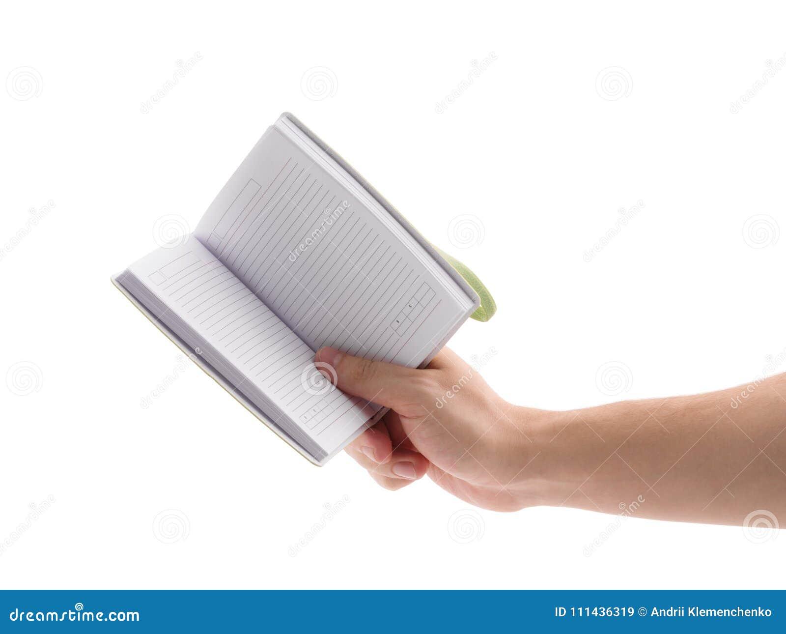 Bloco de notas verde Para fazer a lista Mão do ` s do homem que guarda o bloco de notas