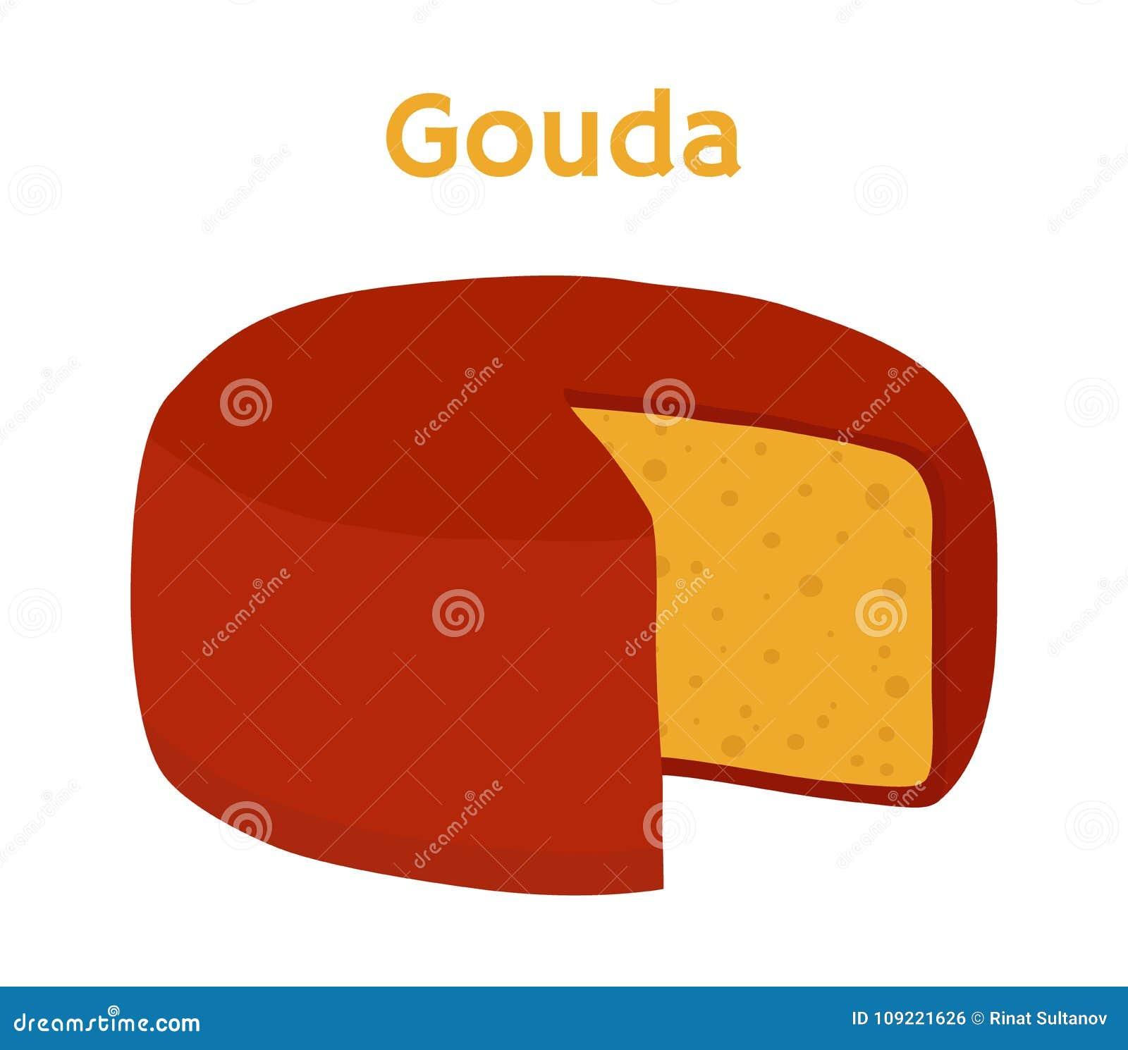 Bloco do queijo de Gouda do vetor Fatia, pedaço Estilo liso dos desenhos animados
