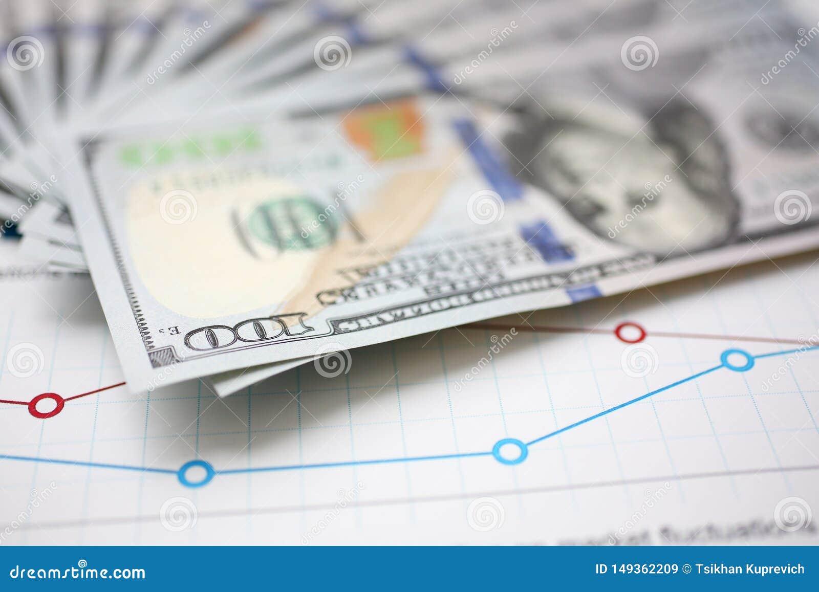 Bloco enorme do dinheiro dos E.U. que encontra-se para baixo no documento financeiro importante