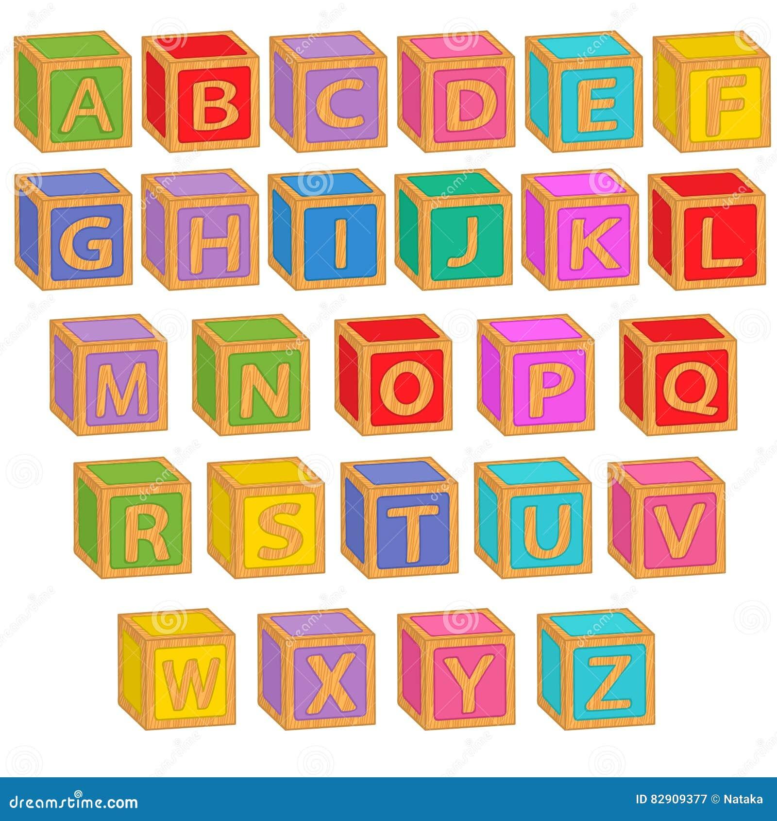 blocos coloridos ingleses do alfabeto ilustração do vetor